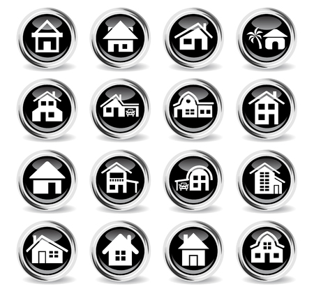 house type icons on stylish round chromed buttons