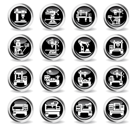 industrial equipment icons on stylish round chromed buttons