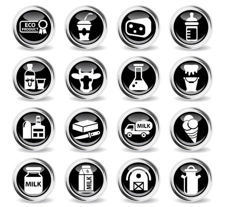milk icons on stylish round chromed buttons Ilustrace