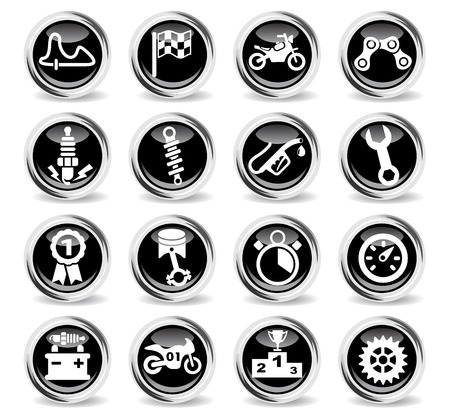 moto racing icons on stylish round chromed buttons Illustration