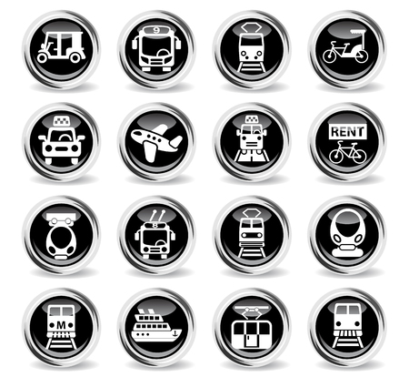monorail: public transport icons on stylish round chromed buttons