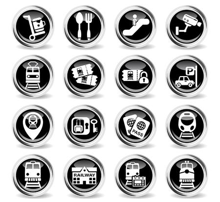 highspeed: railway station icons on stylish round chromed buttons Illustration