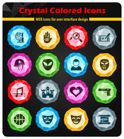 icons: cinema genre crystal color icons for your design