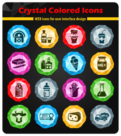 milk crystal color icons for your design
