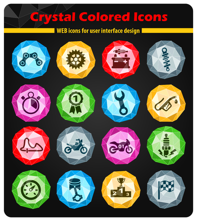 moto racing crystal color icons for your design