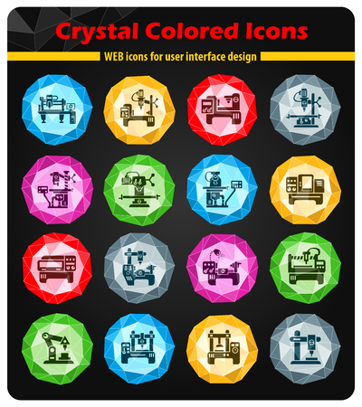 steel mill: industrial equipment crystal color icons for your design Illustration