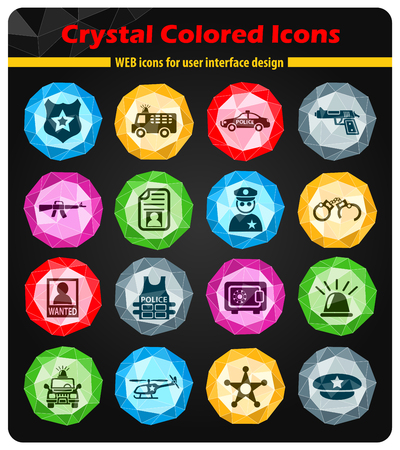 handcuffs: police crystal color icons for your design