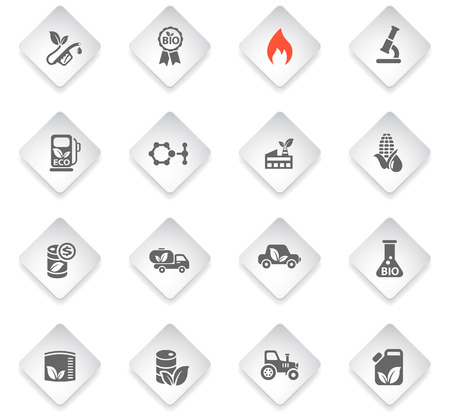 industry icons: bio fuel flat web icons for user interface design