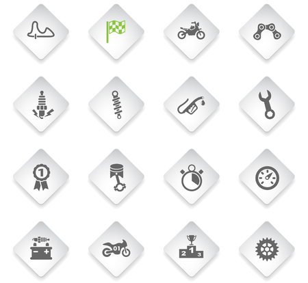 moto racing flat web icons for user interface design Illustration