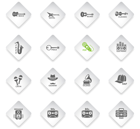 musical genre flat web icons on color photo cards for user interface