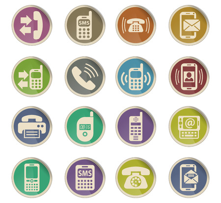 phone web icons on color paper labels