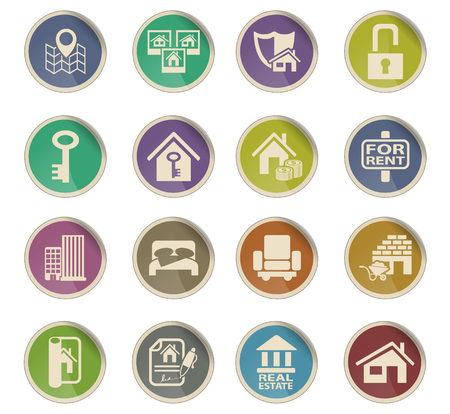 real estate web icons on color paper labels