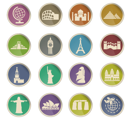 easter island: travel and wonders web icons on color paper labels Illustration