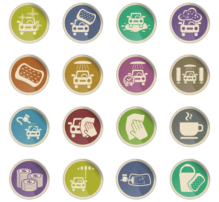 car wash service web icons for user interface design
