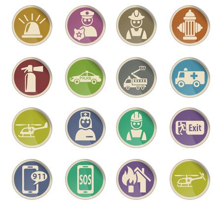 emergency web icons on color paper labels Illustration