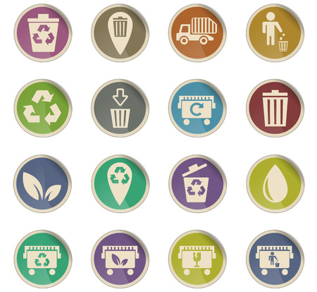 garbage web icons for user interface design Ilustração