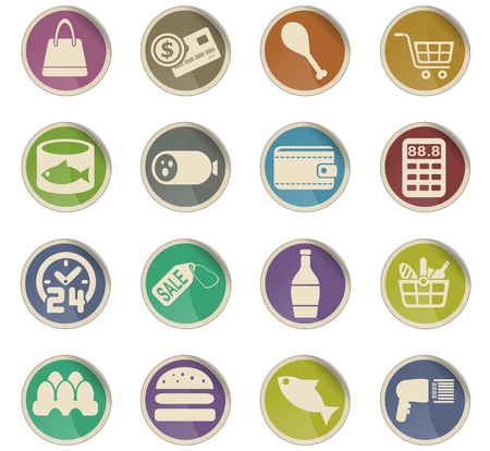 grocery store web icons for user interface design