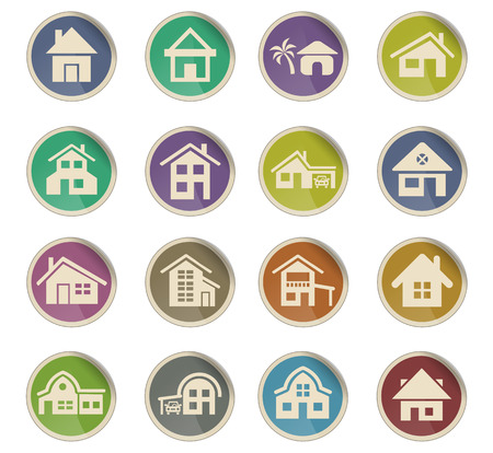 house type web icons on color paper labels