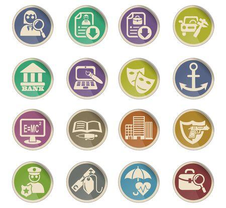 job search web icons on color paper labels Ilustração