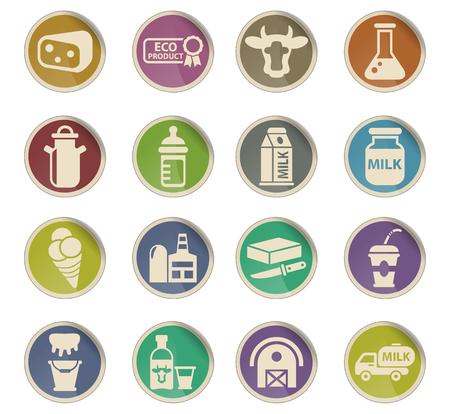milk web icons on color paper labels