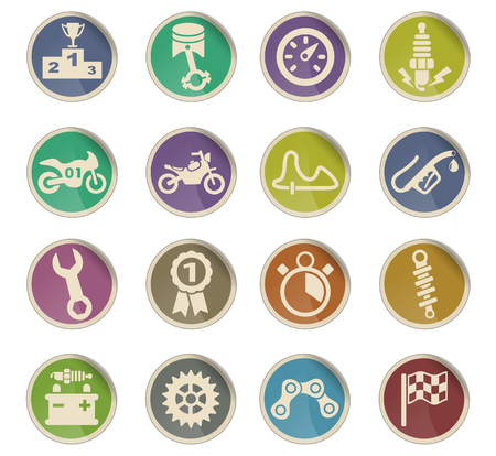 moto racing web icons on color paper labels Illustration