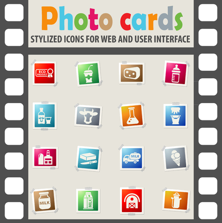 milk web icons on color photo cards for user interface Ilustrace