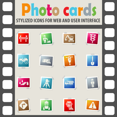flashers: road repairs web icons on color photo cards for user interface