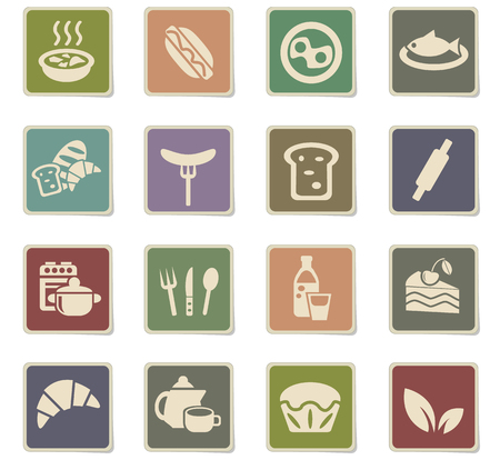 rolling bag: food and kitchen web icons for user interface design Illustration