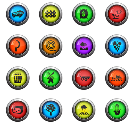 agricultural icons on colour round glass buttons for your design