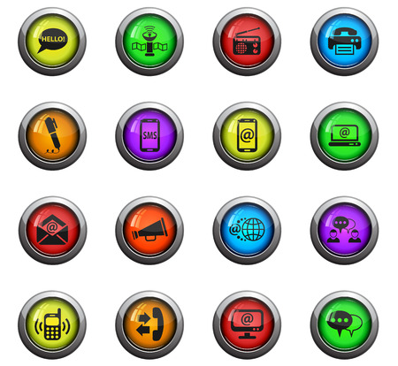 tv tower: communication icons on color round glass buttons for your design