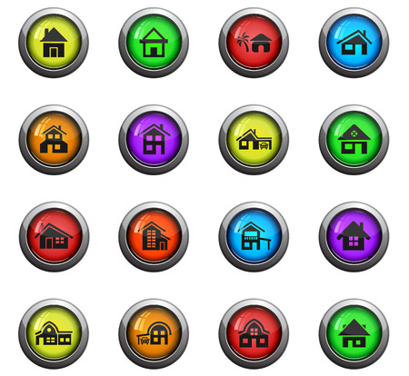 House type icons on colour round glass buttons for your design