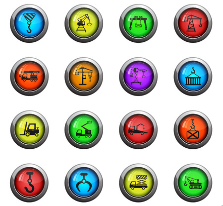 Lifting machines icons on colour round glass buttons for your design Иллюстрация