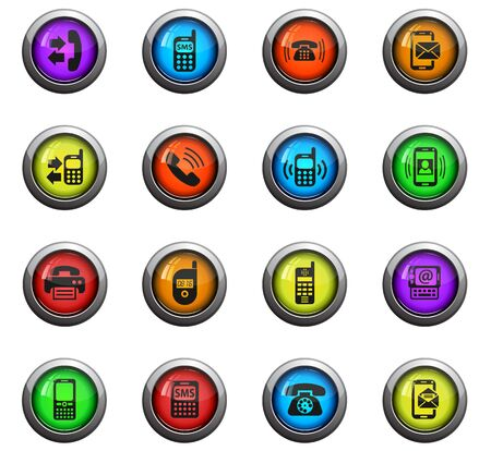 proceeding: phone icons on color round glass buttons for your design