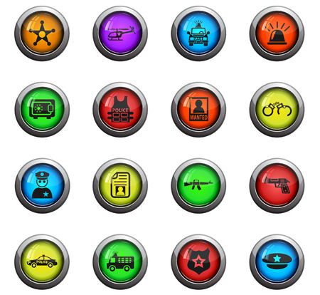 handcuffs: police icons on color round glass buttons for your design Illustration