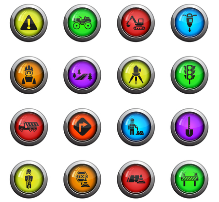 flashers: road repairs icons on color round glass buttons for your design Illustration