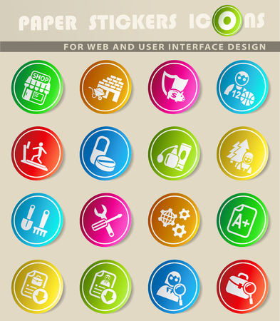 job search icons on color paper stickers for your design