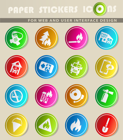 burning paper: Fire brigade icons on colour paper stickers for your design Illustration
