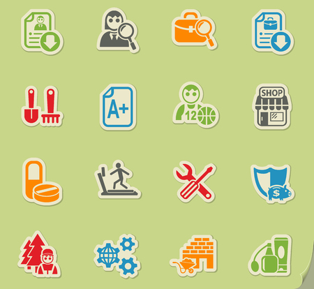 job search web icons on color paper stickers for user interface Illustration
