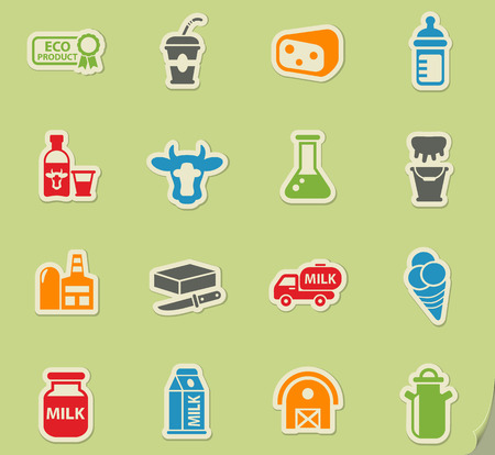 milk web icons on color paper stickers for user interface