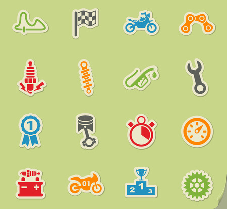 moto racing web icons on color paper stickers for user interface