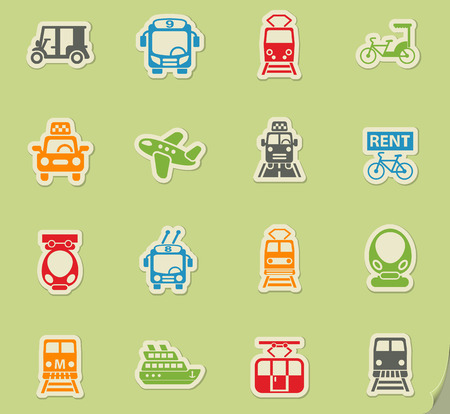 public transport web icons on color paper stickers for user interface Illustration