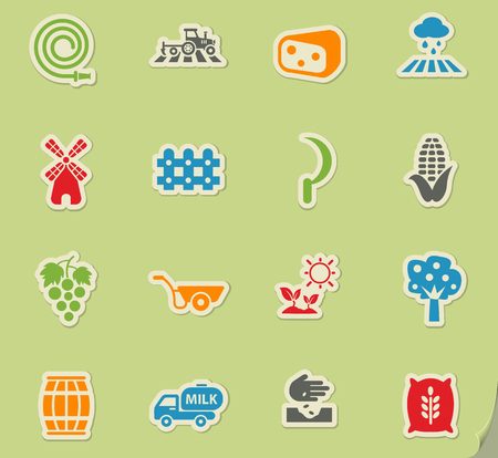 agricultural web icons on color paper stickers for user interface