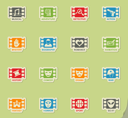 cinema genre web icons on color paper stickers for user interface