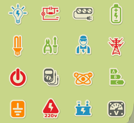electricity web icons on color paper stickers for user interface Illustration
