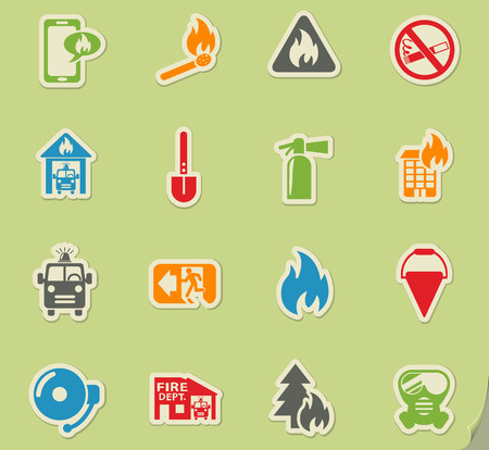 burning paper: fire brigade web icons on color paper stickers for user interface