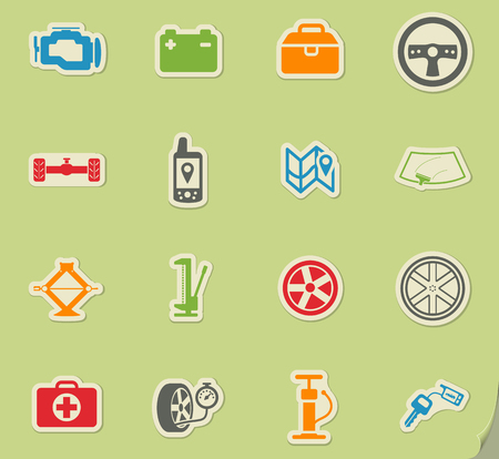 first aid kit key: Car shop silhouette simply icons for web