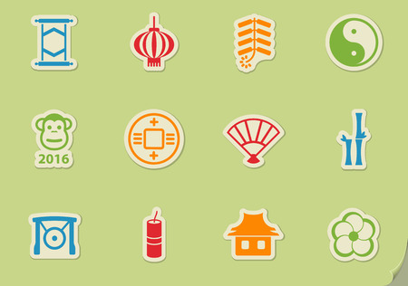 chinese new year icon set , vector icons