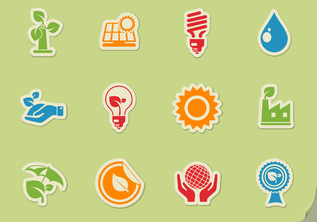Ecology and recycle symbols vector icon set