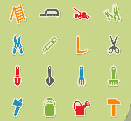 mowers: garden tools web icons for user interface design