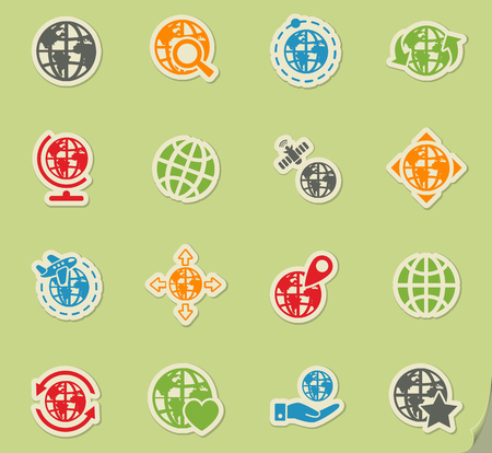 magnyfying glass: globes web icons for user interface design